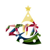 Christmas tree, New Year banner elements. With white space for text Stock Photography