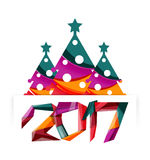 Christmas tree, New Year banner elements. With white space for text Stock Images