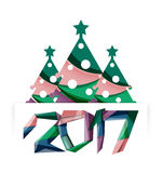 Christmas tree, New Year banner elements. With white space for text Stock Photo
