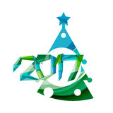 Christmas tree, New Year banner elements. With white space for text Stock Image