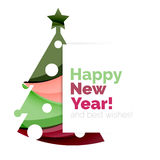 Christmas tree, New Year banner elements. With white space for text Royalty Free Stock Image