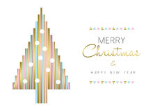 Christmas tree and new year design in gold color Royalty Free Stock Photo