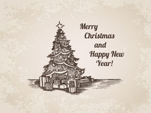 Christmas tree New Year handdrawn engraving style template Stock Photography