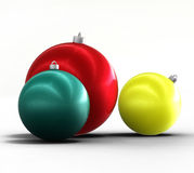 Christmas tree and new year ornaments winter decor. Christmas tree and new year ornaments balls - winter holiday decoration Royalty Free Stock Photo