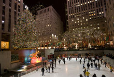 Christmas tree in New York. Christmas in New York city , Christmas tree at Rockefeller plaza royalty free stock photography