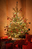 Christmas tree at night Stock Image