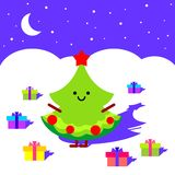 Christmas tree in the night Royalty Free Stock Photography