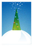 Christmas tree in the night. Decorated Christmas tree in the night royalty free illustration