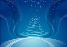 Christmas tree, night background. Christmas tree, blue night background Stock Photography
