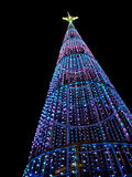 Christmas tree at night in the city Stock Photos