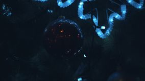 Christmas tree in the night. Close up HD stock footage