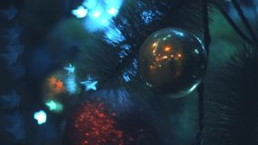 Christmas tree in the night. Close up HD stock video footage