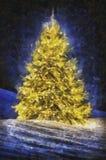 Christmas tree at night royalty free illustration