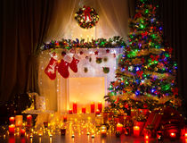 Christmas Tree Night Room Interior, Home Decoration Lights Royalty Free Stock Image