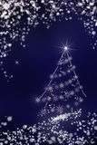 Christmas tree in the night sky background Stock Images