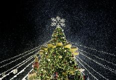 Christmas tree night time with lights decoration royalty free stock images