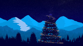 Christmas Tree and Night Winter Landscape Royalty Free Stock Photography