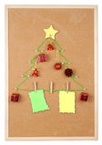 Christmas tree on noticeboard Stock Photography
