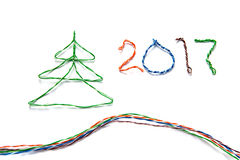 Christmas tree and number 2017 made from cables of Twisted pair RJ45 Royalty Free Stock Image