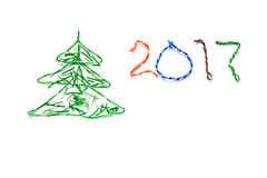 Christmas tree and number 2017 made from cables of Twisted pair RJ45 for Lan network. Royalty Free Stock Photography