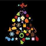 Christmas tree objects. Christmas tree as background, decorations Stock Images