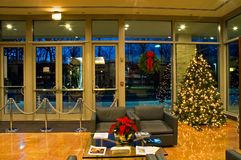 Christmas Tree in Office Lobby Stock Photography