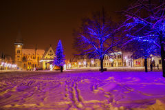 Christmas tree in old city center of Bardejov, Europe. Stock Images