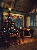Christmas tree in an old cottage stock illustration
