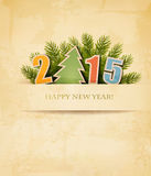 2015 with a Christmas tree on old paper background. Vector vector illustration