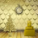 Christmas tree in the old room. With clocks Royalty Free Stock Photos