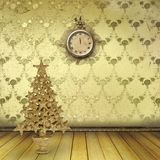 Christmas tree in the old room. With clocks Stock Images