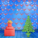Christmas tree in the old room. With clocks Royalty Free Stock Photography