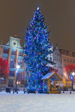 Christmas tree on the old town of Gdansk. Old town of Gdansk in winter scenery with Christmas tree, Poland Royalty Free Stock Images