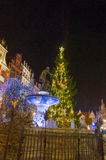 Christmas tree in the old town. Royalty Free Stock Photo