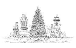 Christmas tree in old town. Sketch collection Royalty Free Stock Photos