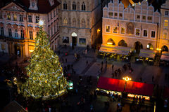 Christmas tree on Old Town Square in Prague Royalty Free Stock Photography