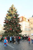 Christmas tree on Old Town Square in Prague stock photo
