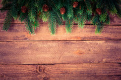 Christmas tree on old wood Royalty Free Stock Image