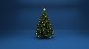 Christmas Tree On Blue Background Royalty Free Stock Photos