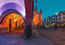 Free Christmas Tree On Town Square In Evening In Alba, Italy. Stock Images - 164561844