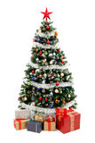 Christmas Tree On White With Presents Royalty Free Stock Photography