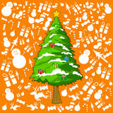 Christmas tree with orange backgrounds for Christmass Day. Christmas tree with orange and gift background decorate for Christmass Day Stock Photography