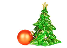 Christmas tree and orange ball Stock Images