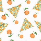 Christmas tree with oranges. Sketch for greeting card, festive poster, party invitations,textile, fabric, wrapping, menu. stock illustration