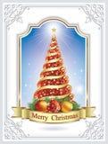 Christmas tree in the original frame Stock Photo