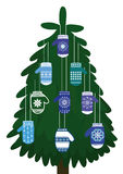Christmas tree with original ornaments Stock Images