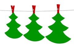 Christmas tree - the original sticker garland. Royalty Free Stock Images