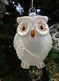 Christmas tree ornament–glass owl closeup Royalty Free Stock Photo