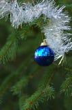 Christmas tree ornament. Blue christmas ornament on christmas tree Stock Images