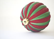Christmas Tree Ornament. A red and green Christmas tree ornament royalty free stock photos